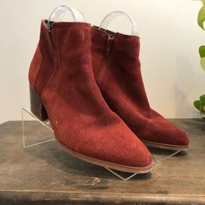 ALDO Maroon Rust Suede Ankle Boots Western